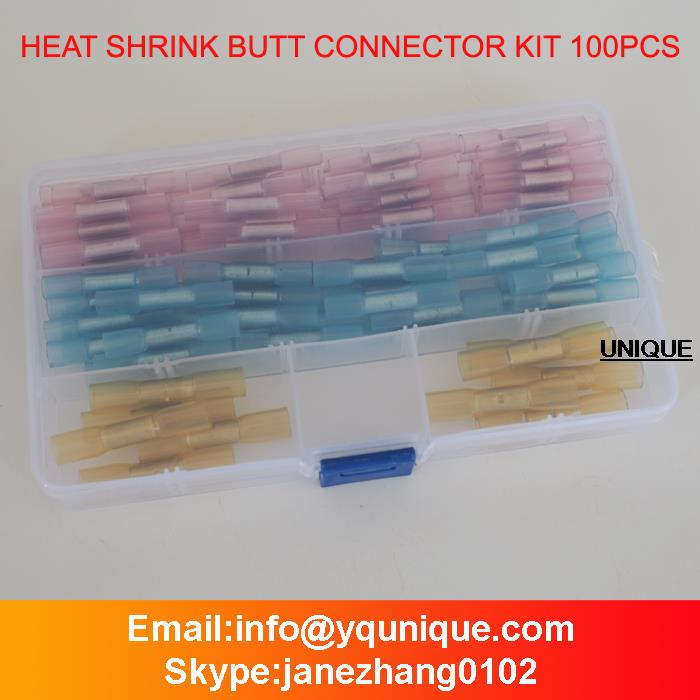 100pcs/lot High Heat Shrink Butt Connector Kit Crimping Terminal Set Assorted Electrical Tips Transparent HBHT Free Shipping 500 pcs blue heat shrink 16 14 ga butt wire connectors ring terminal free shiping