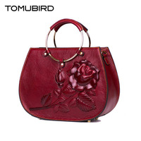 TOMUBIRD 2018 New women genuine leather bag brand Designers Embossed roses cowhide leather women handbags shoulder bag
