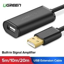 Ugreen USB кабель-удлинитель 5 м/10 m/20 m/30 m мужчин и женщин USB 3,0 кабель усилитель сигнала USB3.0 2,0 удлинитель шнур Удлинитель USB