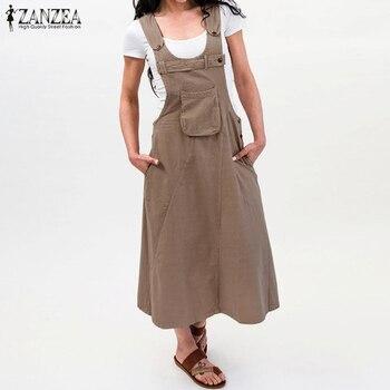ZANZEA 2019 Summer Long Dress Women Casual Vintage Dresses Mid Calf Vestidos Pockets Strapless Sundress Plus Size S-5XL Overalls 3