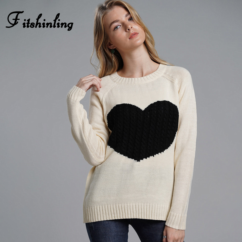 Fitshinling Heart Patchwork Lady's Sweater Casual Slim Pullover Female Clothes Knitwear Autumn Winter Cute Sweaters For Women