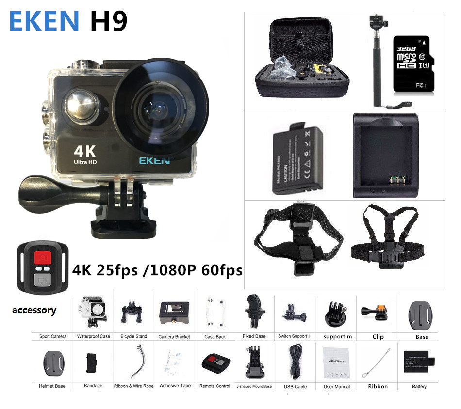 Action camera Original EKEN H9 / H9R remote Ultra FHD 4K WiFi 1080P 60fps 2.0 LCD 170D sport waterproof pro camera go deportiva