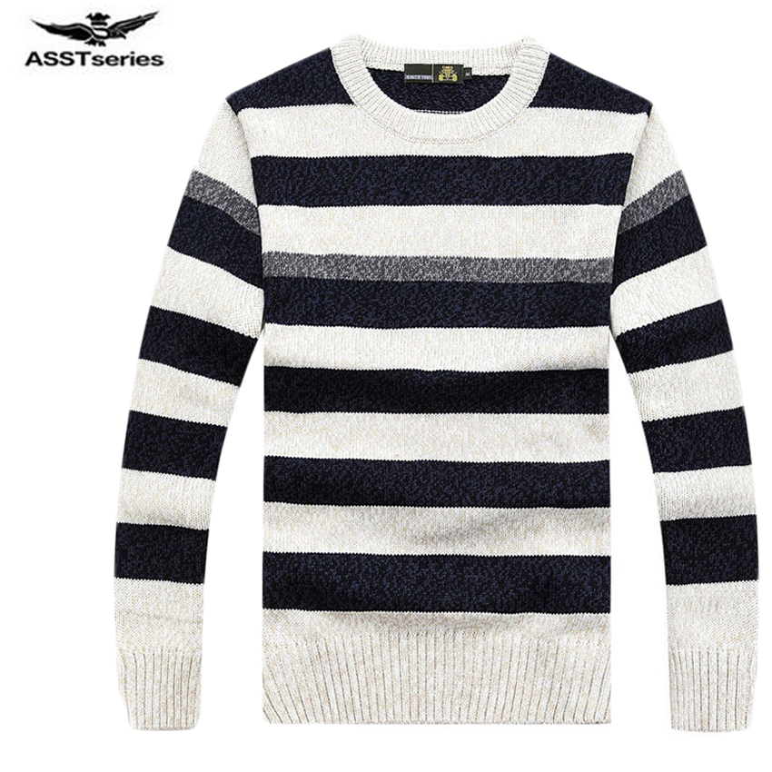 New Fashion Autumn Winter Mens Pullover Sweater High Quality Striped Knitted Sweater Mens Casual Sweaters And Pullovers 80wy