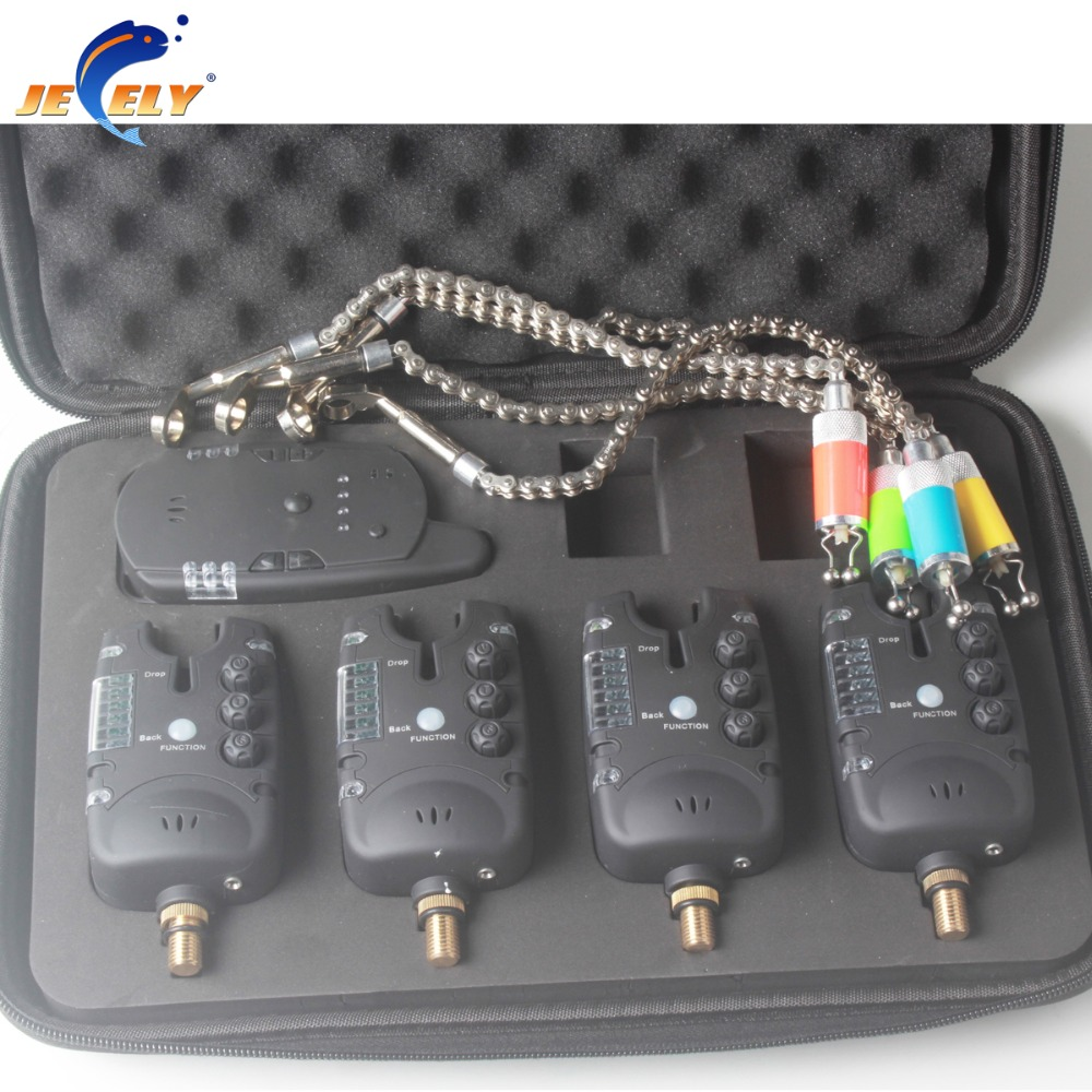 JY-48N-SW Wireless Carp Fishing bite alarm with swinger 6LED Set (4alarms+1receiver+4swingers)