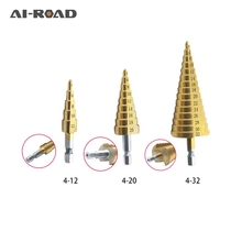 цена на Metal Drill 4-12/20/32mm Step Drill Bit Spiral Flute HSS Steel Cone Titanium Coated Mini Drill Bit Tool Set Hole Cutter