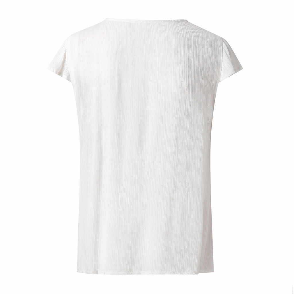SAGACE נשים חולצה 2019 הקיץ לאומי סגנון Boho מקרית סקסי V צוואר חולצה רקום למעלה חולצה חולצות לנשים מקרית חדש