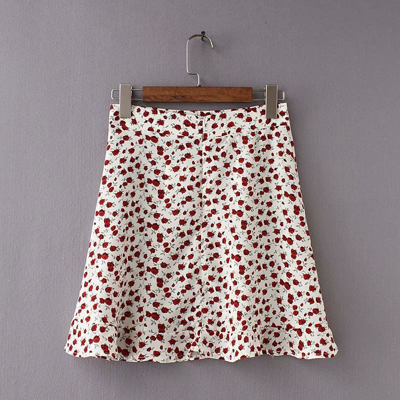 Summer female beach boho sexy mini skirt female 19 womens Casual floral Printed ruffles hem High-Waist Skirt skirts for women 7