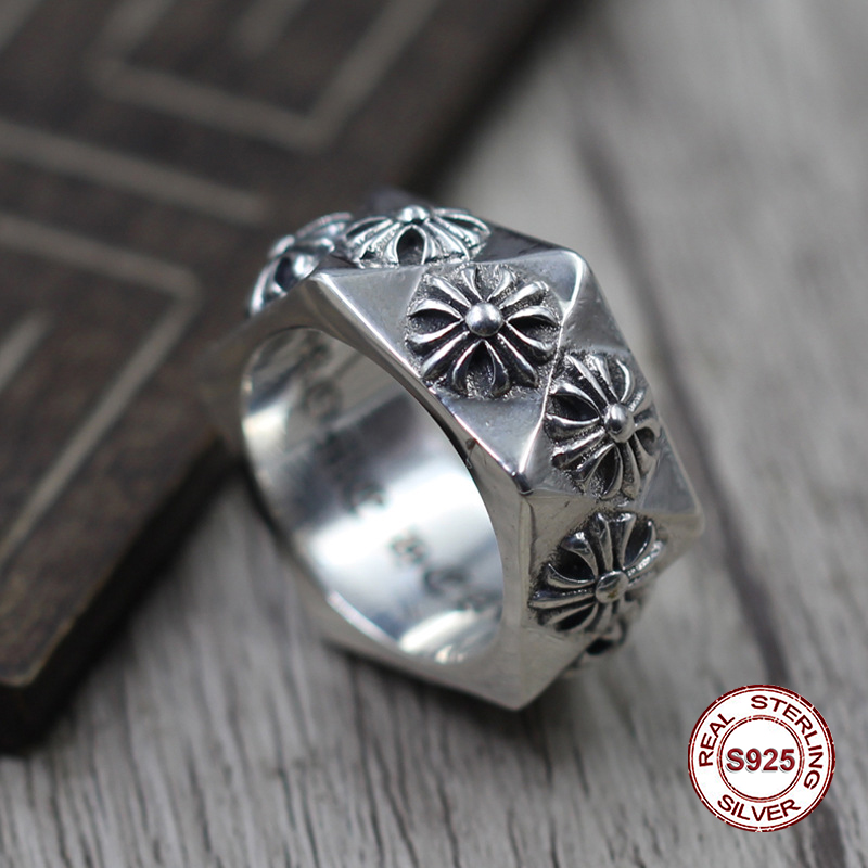 S925 pure silver mens ring personality Do old restoring ancient ways The punk style Classic multi-faceted cross ring Gift loverS925 pure silver mens ring personality Do old restoring ancient ways The punk style Classic multi-faceted cross ring Gift lover