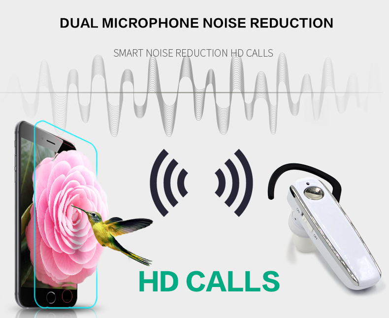 1 Long standby stereo music wireless Bluetooth headset dual microphone noise-canceling earphones and headphone Business headset
