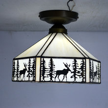 Elk Pattern Tiffany Ceiling Light Stained Glass Lampshade Living Room Decor Fixtures E27 110-240V