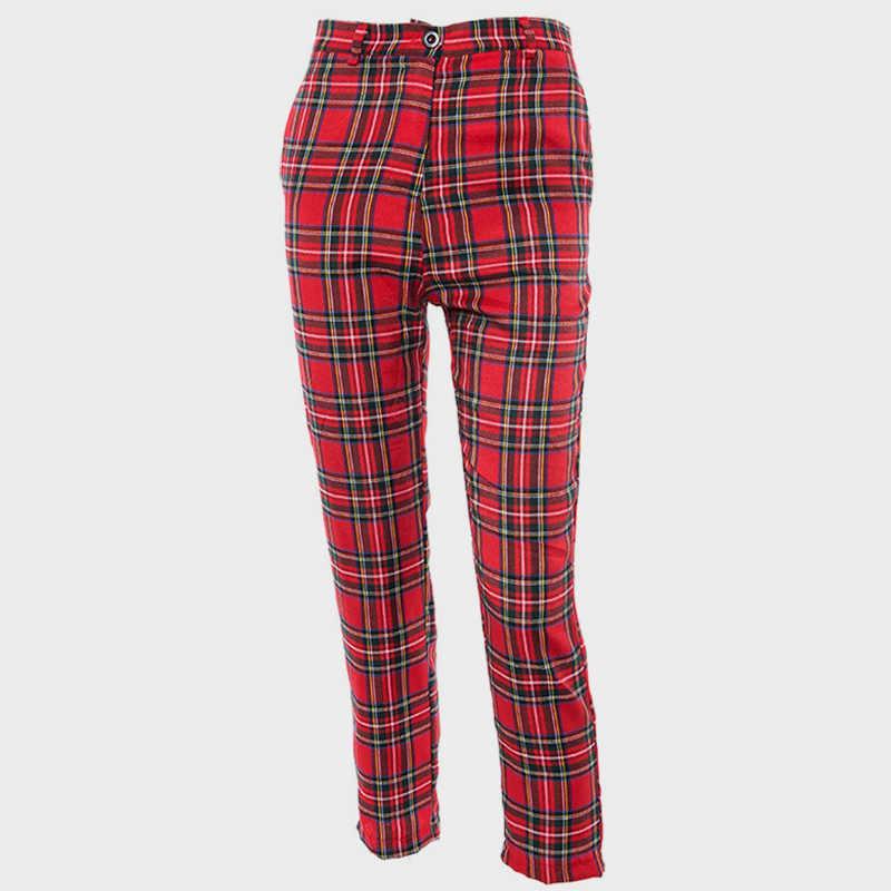2eececb045 ... Cuadros de cintura alta para mujeres recto pantalones Harem tobillo  longitud pantalones para las mujeres 2019
