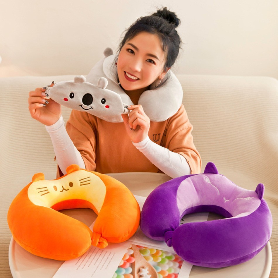 Cute Animal Travel Pillow Cotton School Office Nap Pillow Multifunction Backrest Pillow With Free Eye Mask