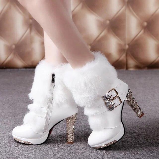 Mode cuir bout rond talon haut mi-mollet bottes métal décoration neige bottes boucle hiver chaussons femme chaussures Mujer