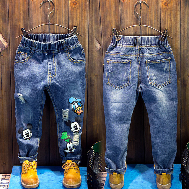0dddae135872 2016 new spring autumn Girls Kids Boys Hole Cartoon jeans ...