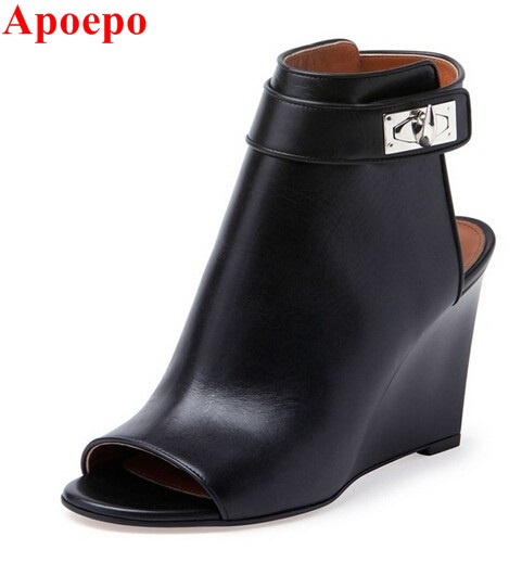 Newest 2017 Designer Women Shark Lock Cutout Ankle Boots Black Leather Peep Toe Cutout Heel Ankle Strap Wedge Shoes Size 34-42