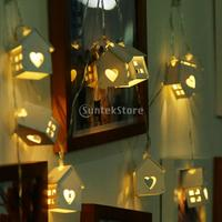 Wood House Shape 10 LED Bulbs Wire String Lingts With Battery Box Christmas Lights For Holiday