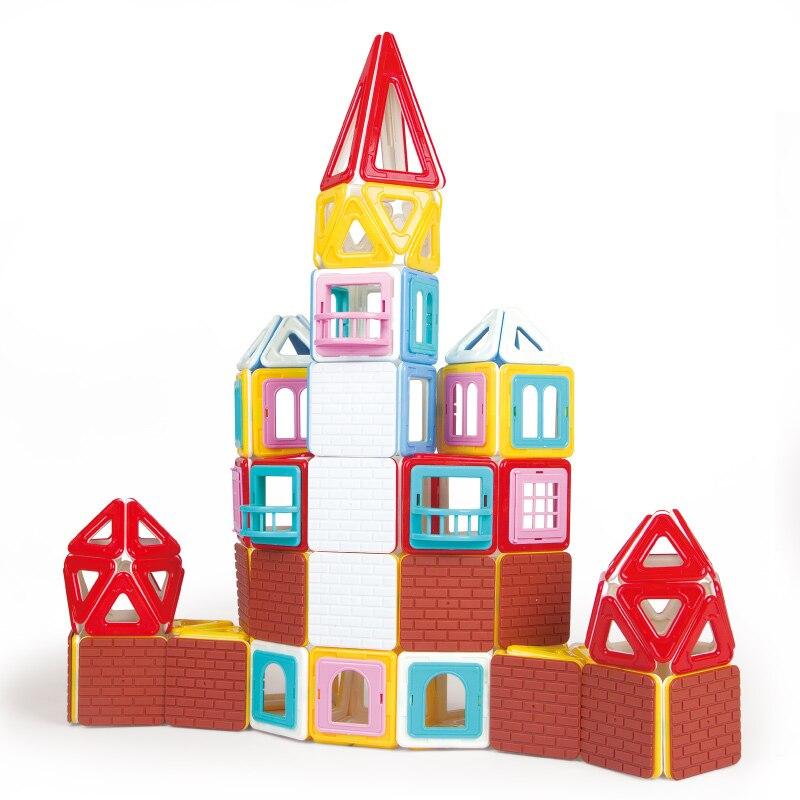 196PCS Toys Enlighten Bricks Educational Magnetic Designer Toy Square Triangle Hexagonal 3D DIY Building Blocks Toys for Kids