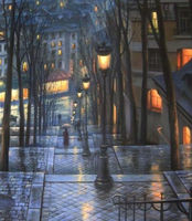 Landscape Wall Decoration Art Oil Painting for Christmas Canvas Painting Oil Picture In the Street Lamp Original Quality