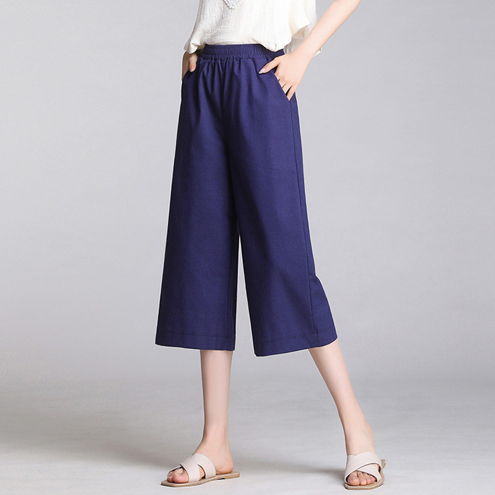 cotton linen capri   pants   for women summer loose casual women   pants   plus size elastic waist   wide     leg     pants   calf length   pants