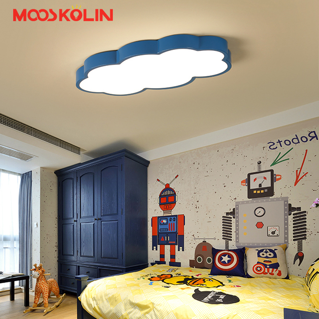 2018 LED Cloud Kids Room Lighting Children Ceiling Lamp Baby Ceiling Light  With Blue White Pink For Boys Girls Bedroom Fixtures