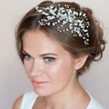 100% artesanal pérola pente de cabelo de cristal tiara nupcial acessórios do casamento Chapéu de Noiva Chapéu do vintage das mulheres do partido acessório
