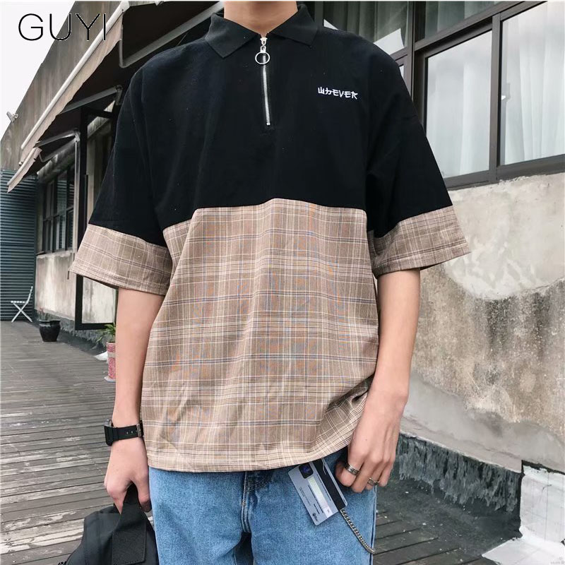 GUYI Plaid Patchwork Zipper   Polos   Men Half Sleeve Panelled Oversized Korean Tops&Tees Fashion Casual Streetwear Junior   Polos