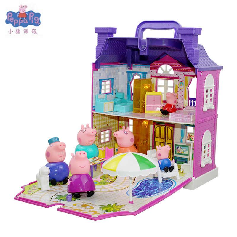Peppa Pig George Porco Amigos Carro Antílope Negro da sala de Aula do Professor de Piquenique de Luxo Mesa Cena Brinquedos Para As Crianças Presentes