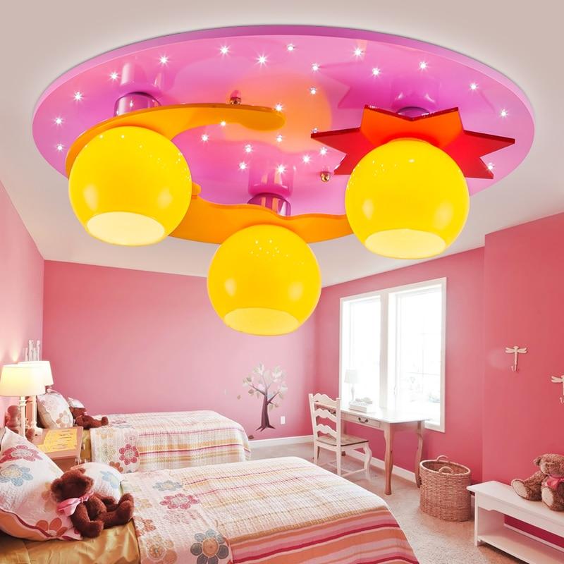 Childrens room led ceiling lamps cartoon boys bedroom LED creative lighting girls room lights stars moon blue pink light ZA8172