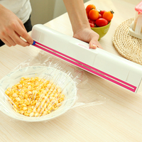 1pc Adjustable Cling Film Wrap Dispenser Cutter Food Storage Containers Plastic Cling Preservative Film Holder Kitchen
