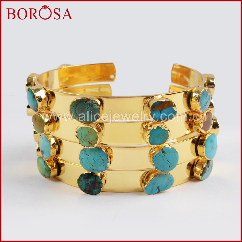 BOROSA Fashion Gold Color Seven 100% Natural Blue Stone Bangle for Women, New Druzy Blue Stone Gems Drusy for Girl Selling G1341