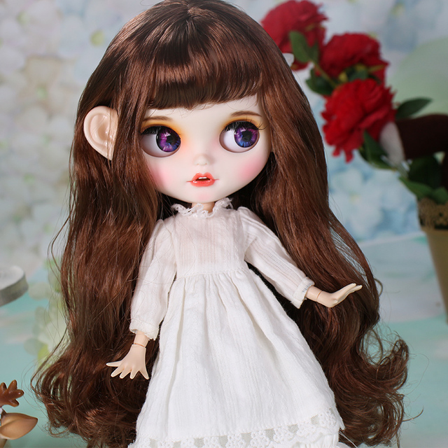 ICY blyth doll matte face white skin cute brown curly hair suit doll with teeth lips eyebrows 30cm DIY BJD SD gift