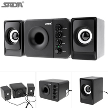 SADA Newest Full Range 3D Stereo Subwoofer 100% Bass PC Speaker Portable Music DJ USB Computer Speakers for Laptop TV