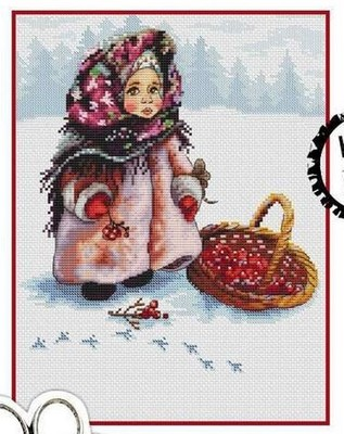 Gold Collection Lovely Counted Cross Stitch Kit Russian Winter Girl Child And Cherry Red Fruits In Snowy Day