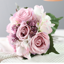 Artificial Flowers Silk Rose Hydrangea Collocation Bouquet for Birthday Home Wedding Decoration Accessories Fake
