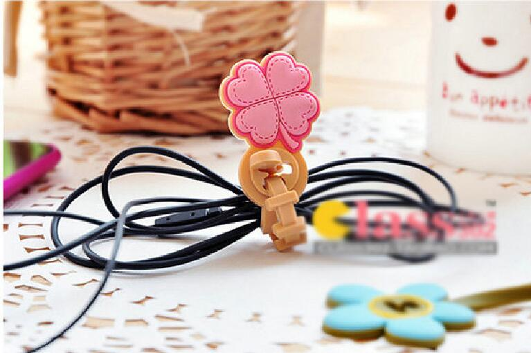 50pcs/lot Clover flower shape Headphone Earphone Cable Wire Organizer Cord Holder USB Charger Cable Winder For iphone samsung