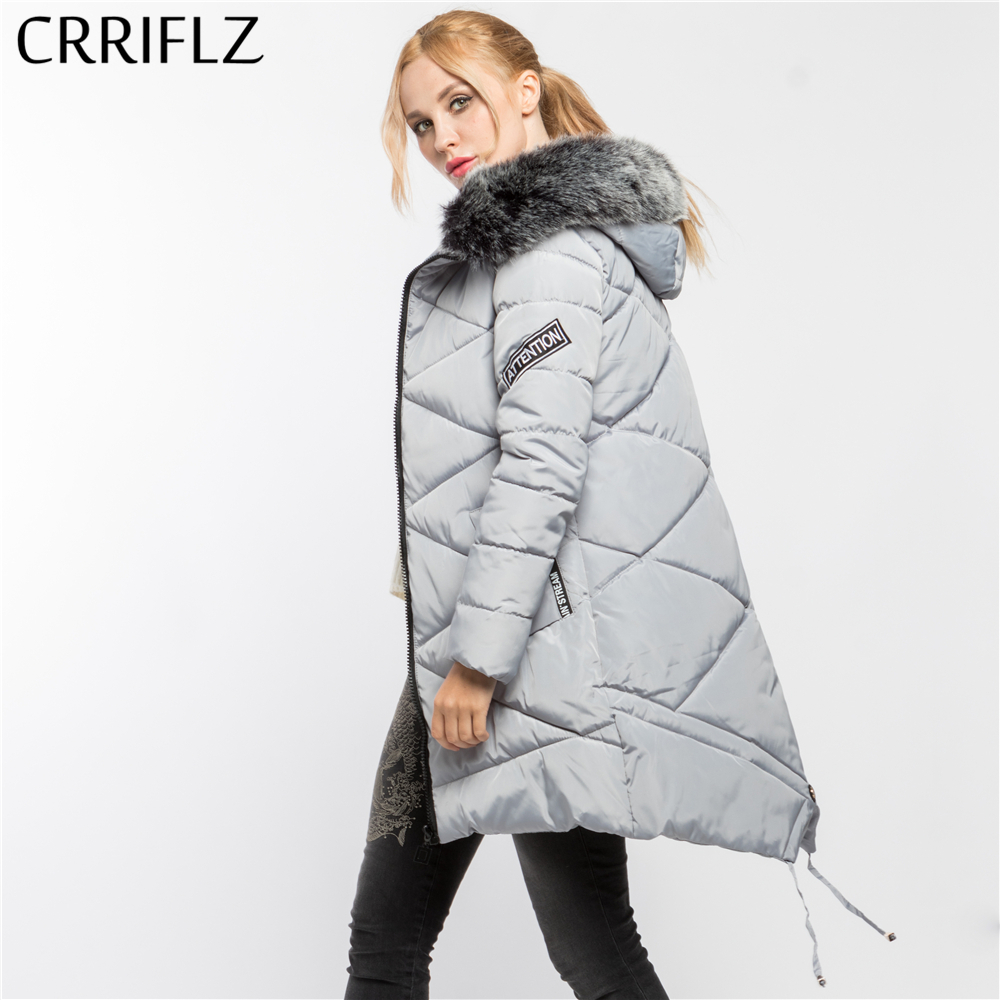 Thick Faux Fur High Quality Warm Winter Jacket Women Hooded Coat Down Parkas Female Outerwear CRRIFLZ 2017 New Winter Collection fashionable thick hooded pleated down coat for women