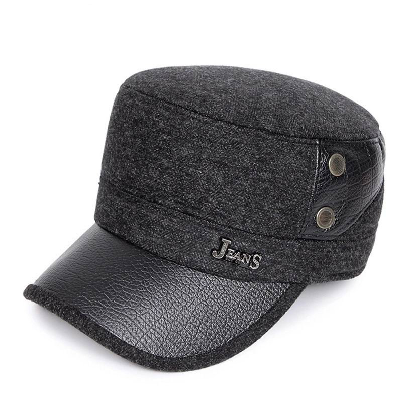 68aeb317 Quinquagenarian Man Autumn And Winter Cap Warm Cold Autumn Male Army Hat  Flat Top Thick Cotton Ear Protection Military Hats ~ Super Deal July 2019