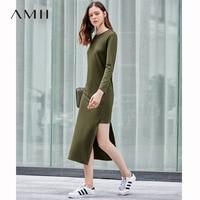 Amii Minimalist Asymmetrical Dresses Women Autumn 2018 Causal Solid Long Sleeve O neck Side Slit Straight Sexy Bodycon Dresses