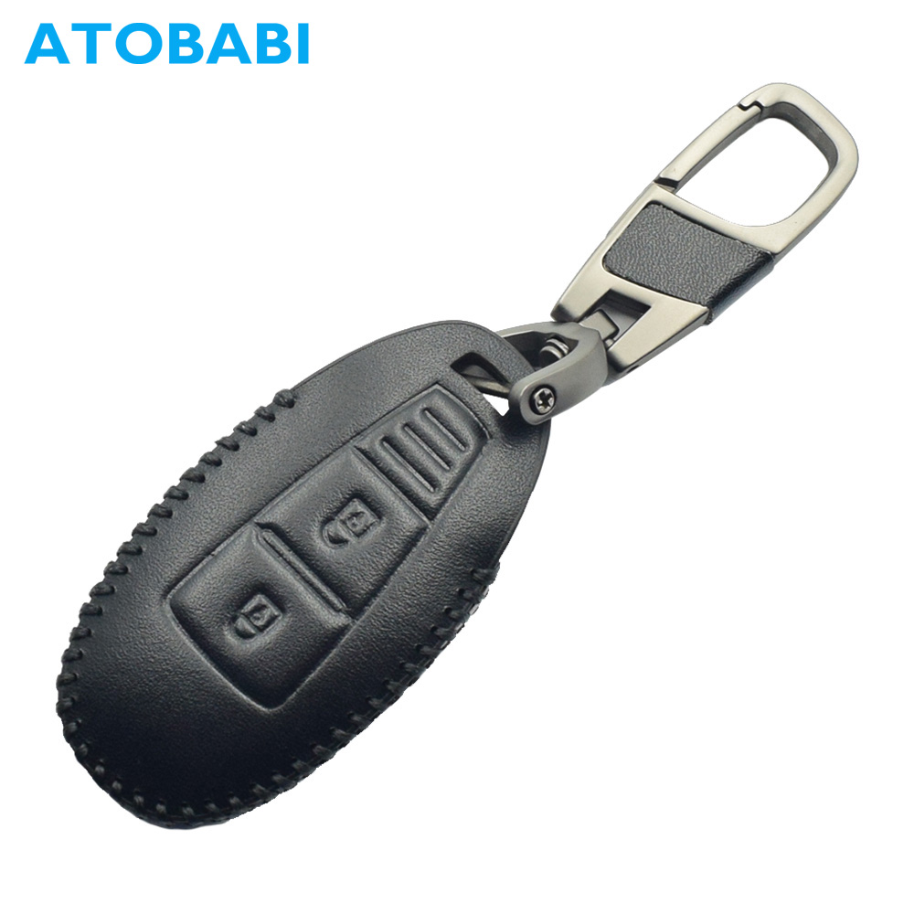 2 Button Leather Car Key Case For Suzuki 2014 2015 S Cross Kizashi SX4 Swift Smart Remote Fob Shell Cover Keychain Protector Bag|Key Case for Car| |  - title=