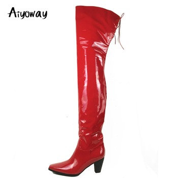 Aiyoway Women Over the Knee Boots Zip Shiny Red Patent Leather Winter Fashion Ladies Square Toe Block Heel Party Clubwear Boots