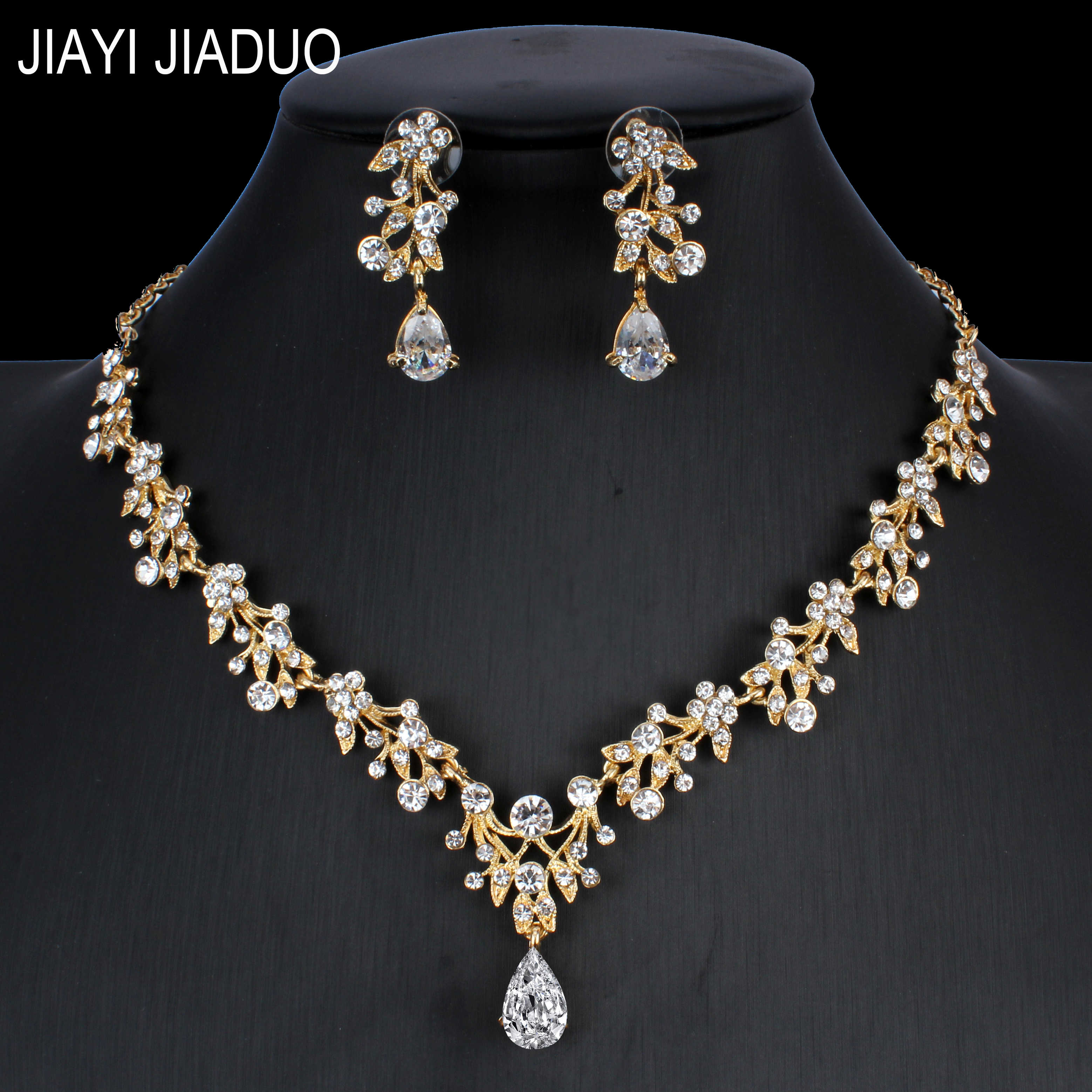 jiayijiaduo Indian Jewelry Set for Women Marriage Jewelry Wedding Drop Necklace Earrings Set Gold Color