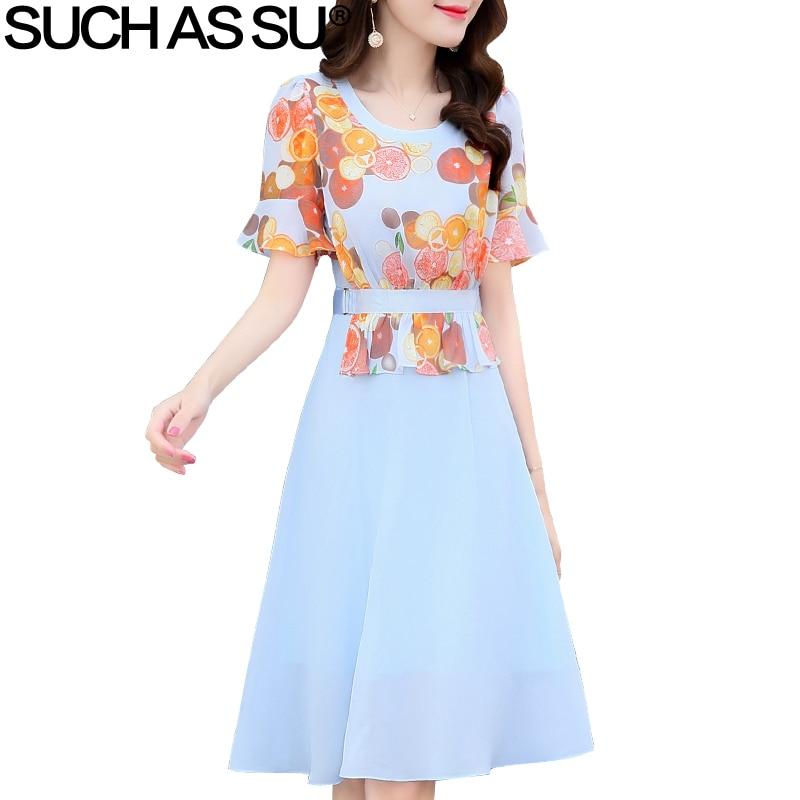 New Women Clothes 2018 Chiffon Floral Dress Women O-Neck Short Butterfly Sleeve Vintage A Line Dresses M-3XL Sexy Print Dress