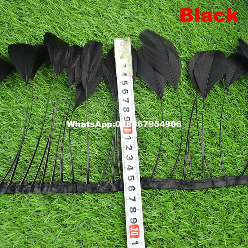 hot sale 10 yards 4 6 Natural Goose Feather Trim for skirt dyed black real goose