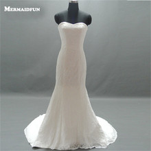 MERMAIDfUN 2019 Real Images Sweep Train Wedding Dress