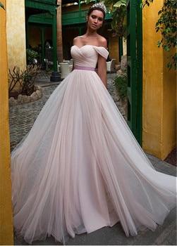 Elegant Tulle Off-the-shoulder Neckline A-line Wedding Dress With Belt Dusty Pink Bridal Dress vestido de madrinha