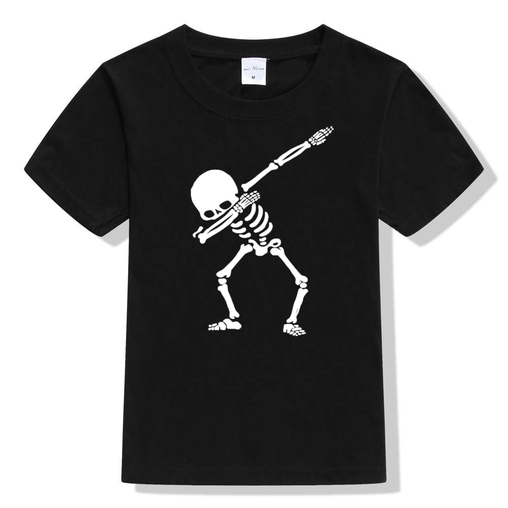 Hip Hop Dabbing Skeleton Kids T-Shirt Punk Black Shirts Children Boys Girls Funny Skull Teens T Shirts Toddler Summer Clothes black cold shoulder lace up t shirts