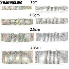 XIAOJINGLING Necklaces Women Jewelry 3Rows 5rows 8Rows 12Rows Diamante Crystal Choker Necklace Wide Bib Collar Wedding Bridal(China)