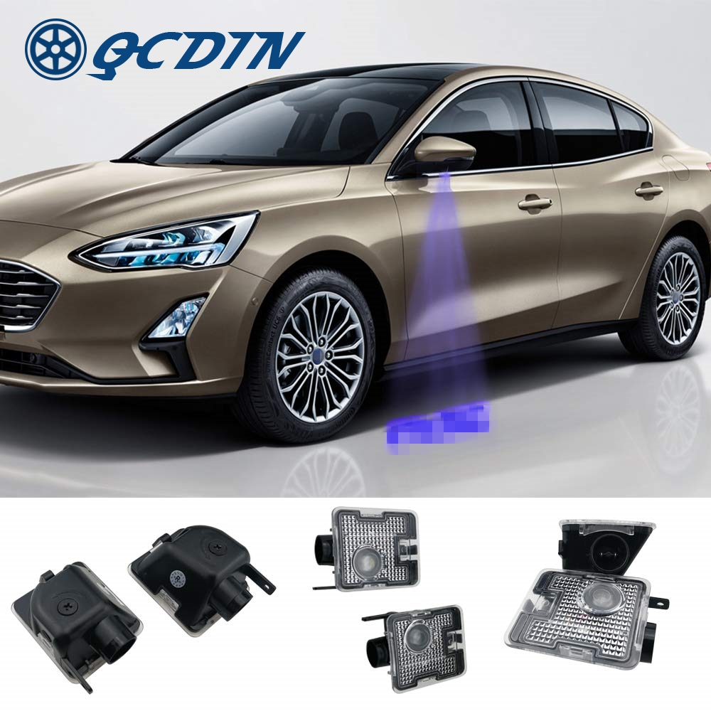QCDIN for Focus LED Car Side Tow Mirror Puddle Logo Light Rearview Mirror Projector Light for Ford Focus Kuga Mondeo Focus RS ST