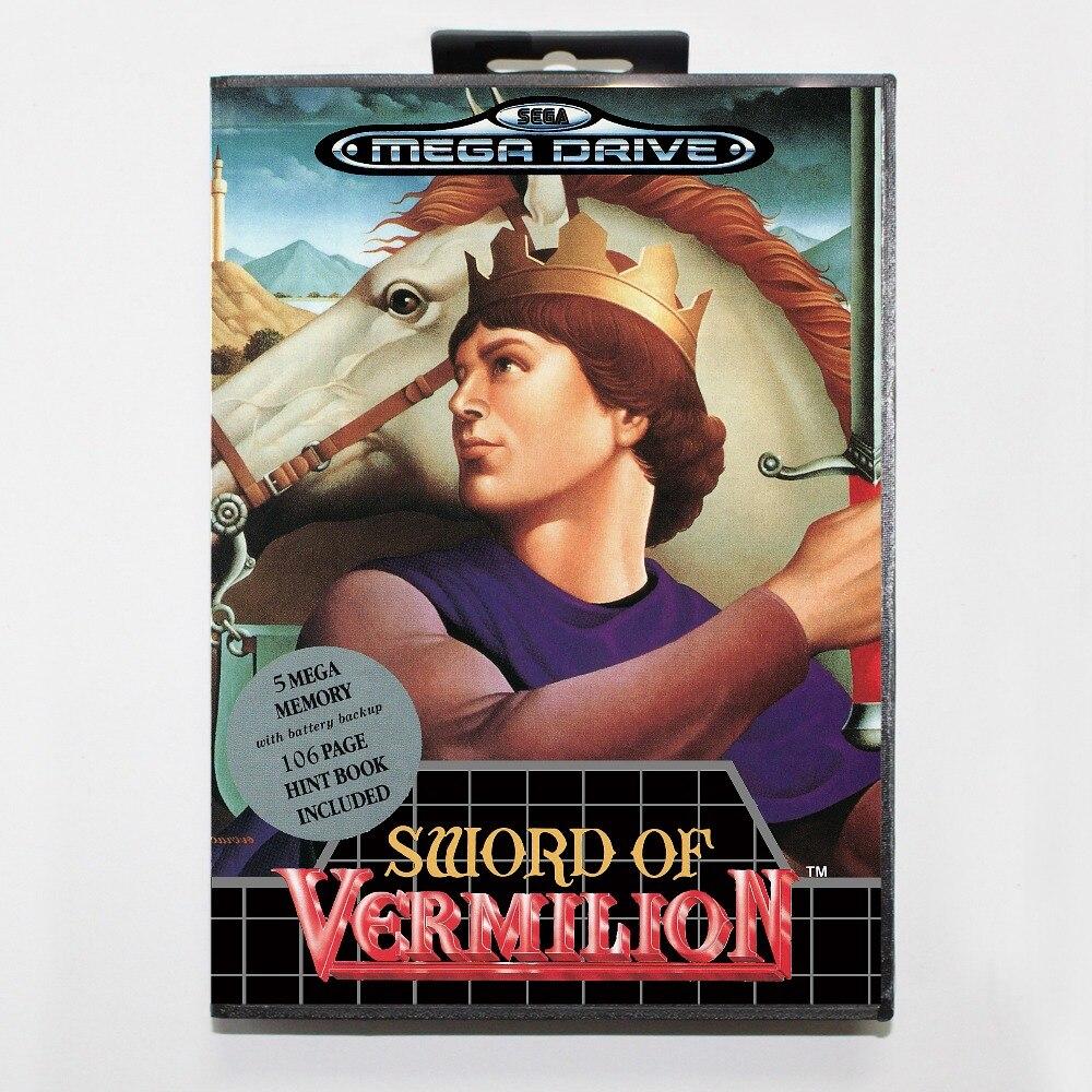 Sword of vermillion 16 bit SEGA MD Game Card With Retail Box For Sega Mega Drive For Genesis
