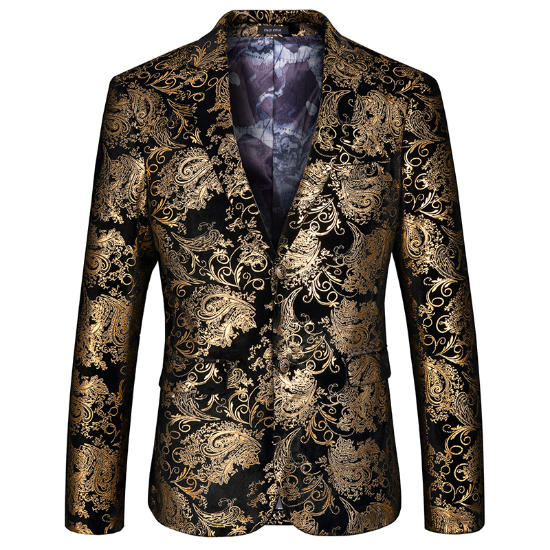 High-end Brand Fashion Boutique Golden Velvet Stage Performance Men's Stage Brand Party / Floral Mens Slim Suit Jacket Mlae Coat